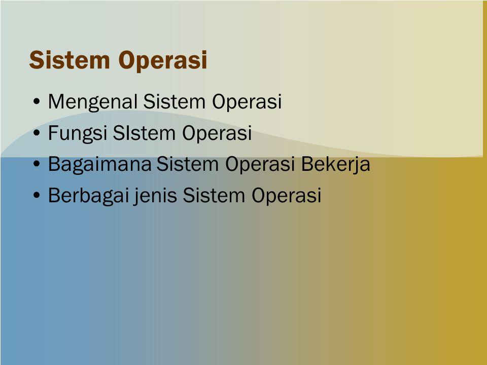 Sistem Operasi Mengenal Sistem Operasi Fungsi SIstem Operasi Bagaimana Sistem Operasi Bekerja Berbagai jenis Sistem Operasi