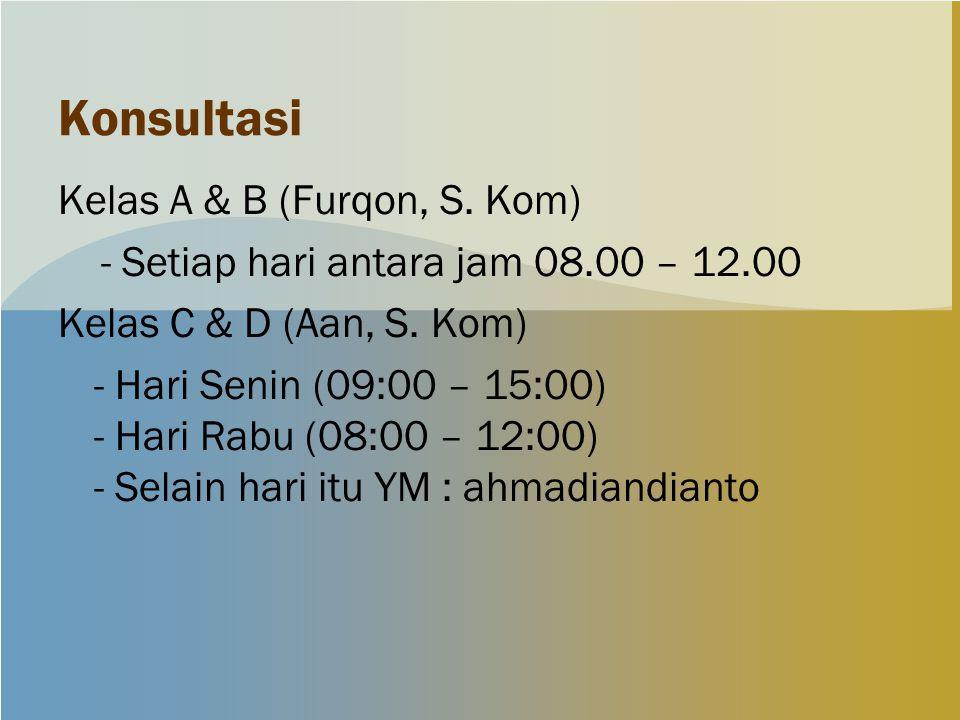 Konsultasi Kelas A & B (Furqon, S. Kom) - Setiap hari antara jam 08.00 – 12.00 Kelas C & D (Aan, S. Kom) - Hari Senin (09:00 – 15:00) - Hari Rabu (08: