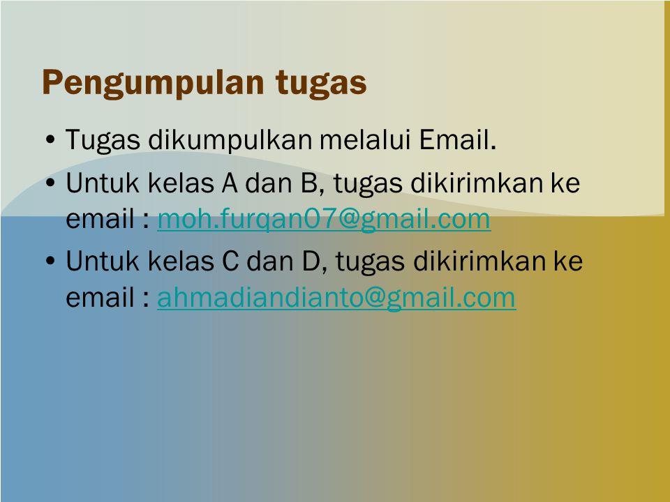 Pengumpulan tugas Tugas dikumpulkan melalui Email. Untuk kelas A dan B, tugas dikirimkan ke email : moh.furqan07@gmail.commoh.furqan07@gmail.com Untuk