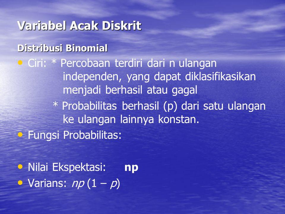 Variabel Acak Diskrit Distribusi Binomial Ciri: * Percobaan terdiri dari n ulangan independen, yang dapat diklasifikasikan menjadi berhasil atau gagal