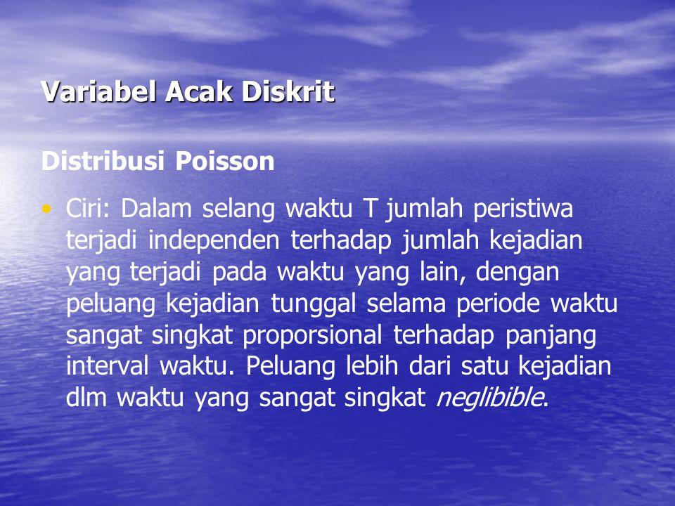 Variabel Acak Diskrit Distribusi Poisson Ciri: Dalam selang waktu T jumlah peristiwa terjadi independen terhadap jumlah kejadian yang terjadi pada wak