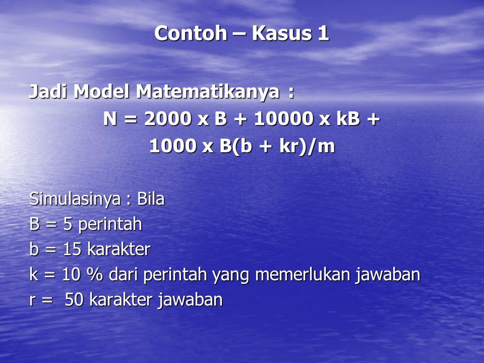 Contoh – Kasus 1 Jadi Model Matematikanya : N = 2000 x B + 10000 x kB + 1000 x B(b + kr)/m Simulasinya : Bila B = 5 perintah b = 15 karakter k = 10 %