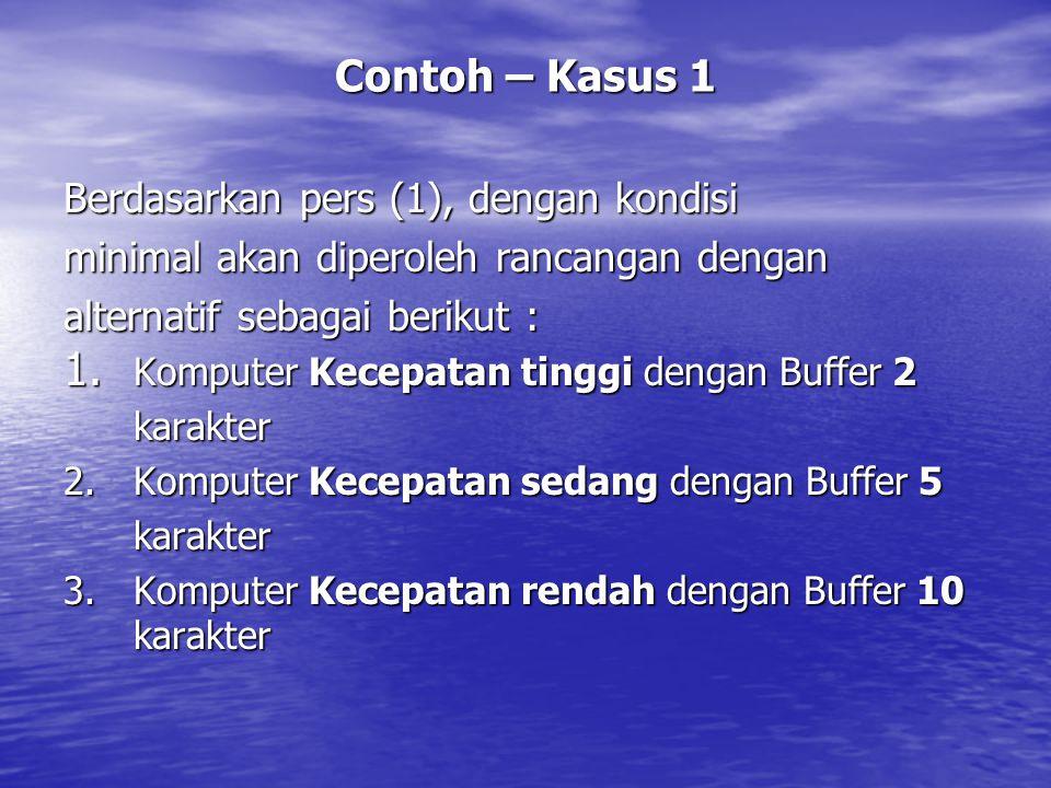 Contoh – Kasus 1 Berdasarkan pers (1), dengan kondisi minimal akan diperoleh rancangan dengan alternatif sebagai berikut : 1. Komputer Kecepatan tingg