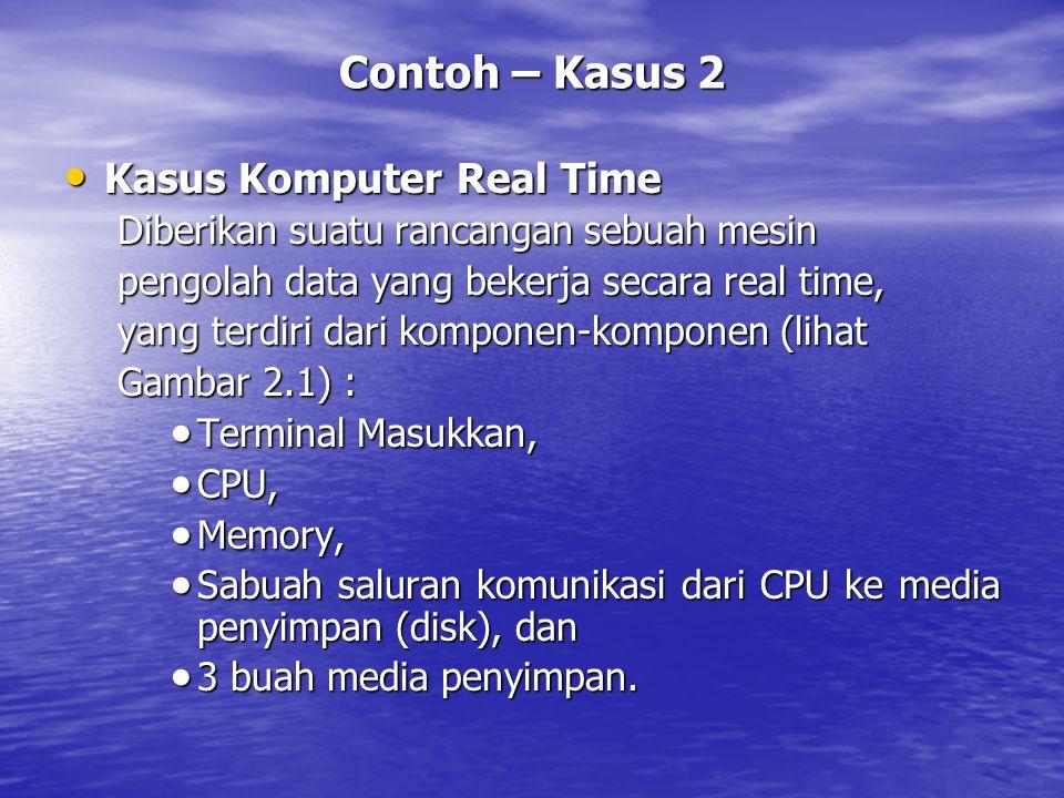 Contoh – Kasus 2 Kasus Komputer Real Time Kasus Komputer Real Time Diberikan suatu rancangan sebuah mesin pengolah data yang bekerja secara real time,