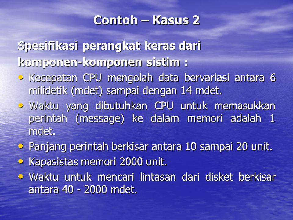 Contoh – Kasus 2 Spesifikasi perangkat keras dari komponen-komponen sistim : Kecepatan CPU mengolah data bervariasi antara 6 milidetik (mdet) sampai d