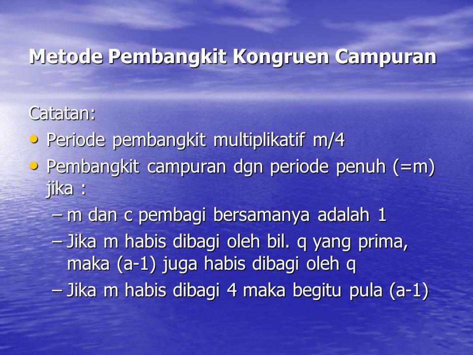 Metode Pembangkit Kongruen Campuran Catatan: Periode pembangkit multiplikatif m/4 Periode pembangkit multiplikatif m/4 Pembangkit campuran dgn periode