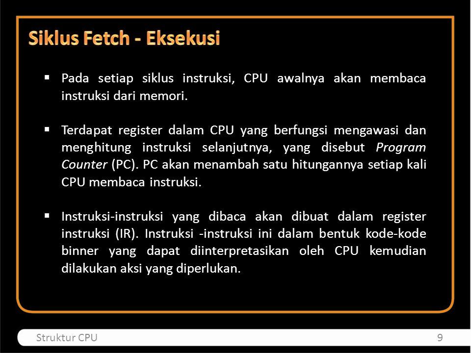  Pada setiap siklus instruksi, CPU awalnya akan membaca instruksi dari memori.  Terdapat register dalam CPU yang berfungsi mengawasi dan menghitung