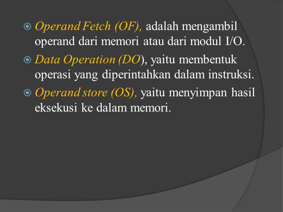  Operand Fetch (OF), adalah mengambil operand dari memori atau dari modul I/O.  Data Operation (DO), yaitu membentuk operasi yang diperintahkan dala