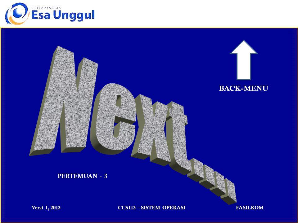 Versi 1, 2013CCS113 – SISTEM OPERASIFASILKOM PERTEMUAN - 3 BACK-MENU