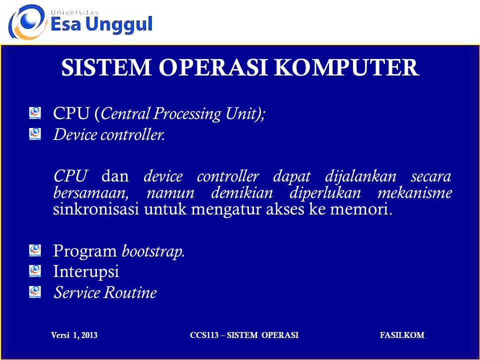 Versi 1, 2013CCS113 – SISTEM OPERASIFASILKOM CPU ( Central Processing Unit); Device controller.