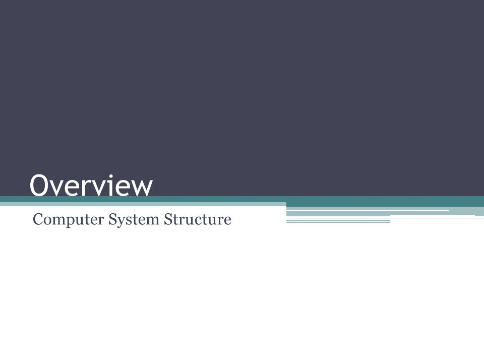 Overview Computer System Structure