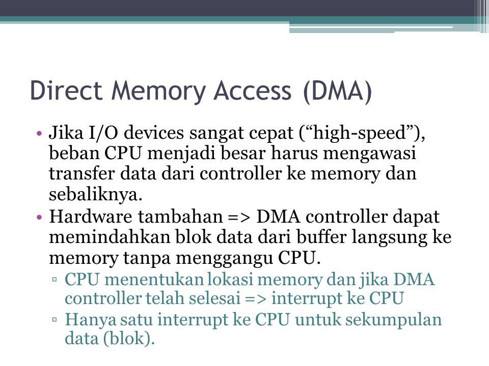 Direct Memory Access (DMA) Jika I/O devices sangat cepat ( high-speed ), beban CPU menjadi besar harus mengawasi transfer data dari controller ke memory dan sebaliknya.