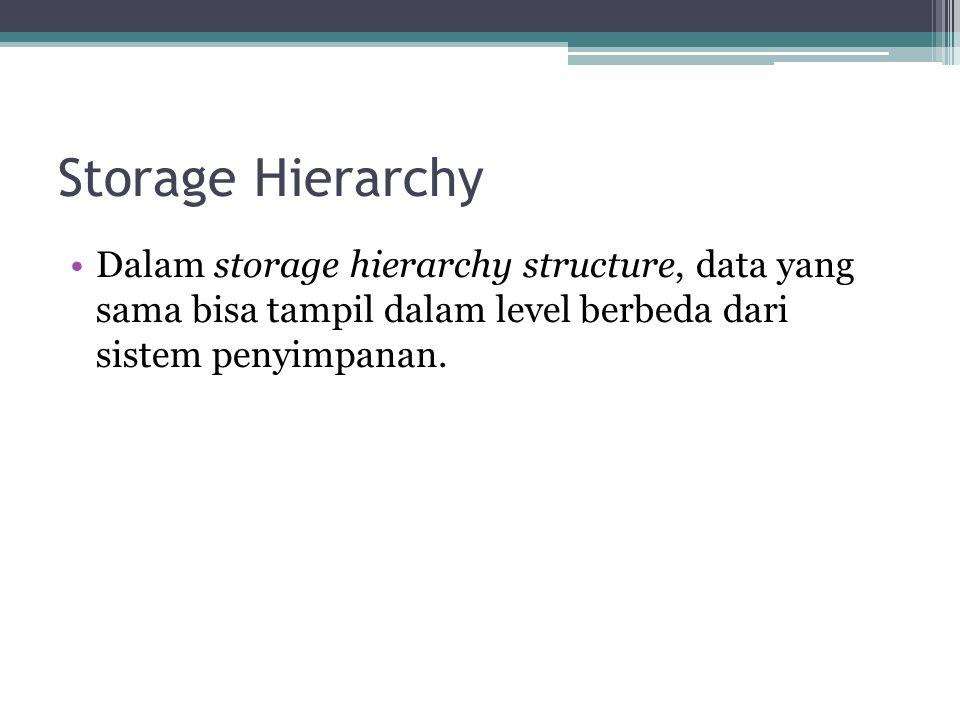 Storage Hierarchy Dalam storage hierarchy structure, data yang sama bisa tampil dalam level berbeda dari sistem penyimpanan.