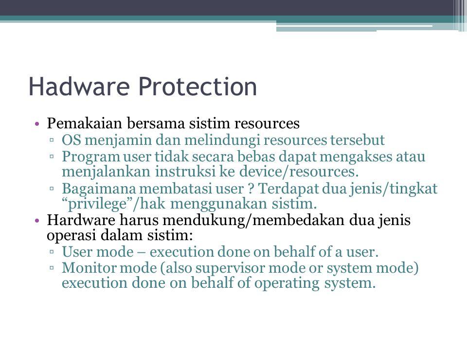 Hadware Protection Pemakaian bersama sistim resources ▫OS menjamin dan melindungi resources tersebut ▫Program user tidak secara bebas dapat mengakses atau menjalankan instruksi ke device/resources.
