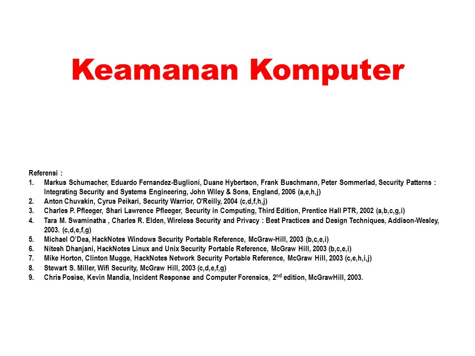 Keamanan Komputer Referensi : 1.Markus Schumacher, Eduardo Fernandez-Buglioni, Duane Hybertson, Frank Buschmann, Peter Sommerlad, Security Patterns : Integrating Security and Systems Engineering, John Wiley & Sons, England, 2006 (a,e,h,j) 2.Anton Chuvakin, Cyrus Peikari, Security Warrior, O Reilly, 2004 (c,d,f,h,j) 3.Charles P.