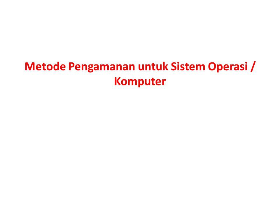 Metode Pengamanan untuk Sistem Operasi / Komputer