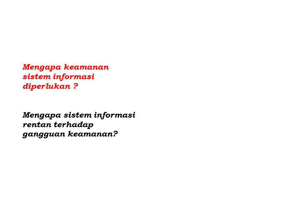 Mengapa keamanan sistem informasi diperlukan .