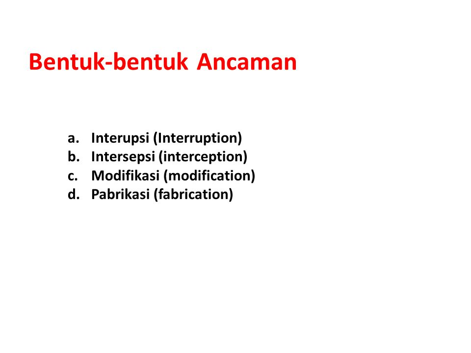 Bentuk-bentuk Ancaman a.Interupsi (Interruption) b.Intersepsi (interception) c.Modifikasi (modification) d.Pabrikasi (fabrication)