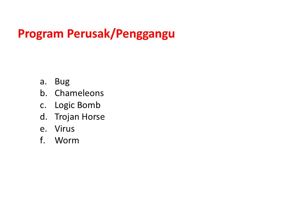 Program Perusak/Penggangu a.Bug b.Chameleons c.Logic Bomb d.Trojan Horse e.Virus f.Worm