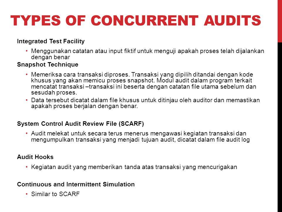 TYPES OF CONCURRENT AUDITS Integrated Test Facility Menggunakan catatan atau input fiktif untuk menguji apakah proses telah dijalankan dengan benar Sn