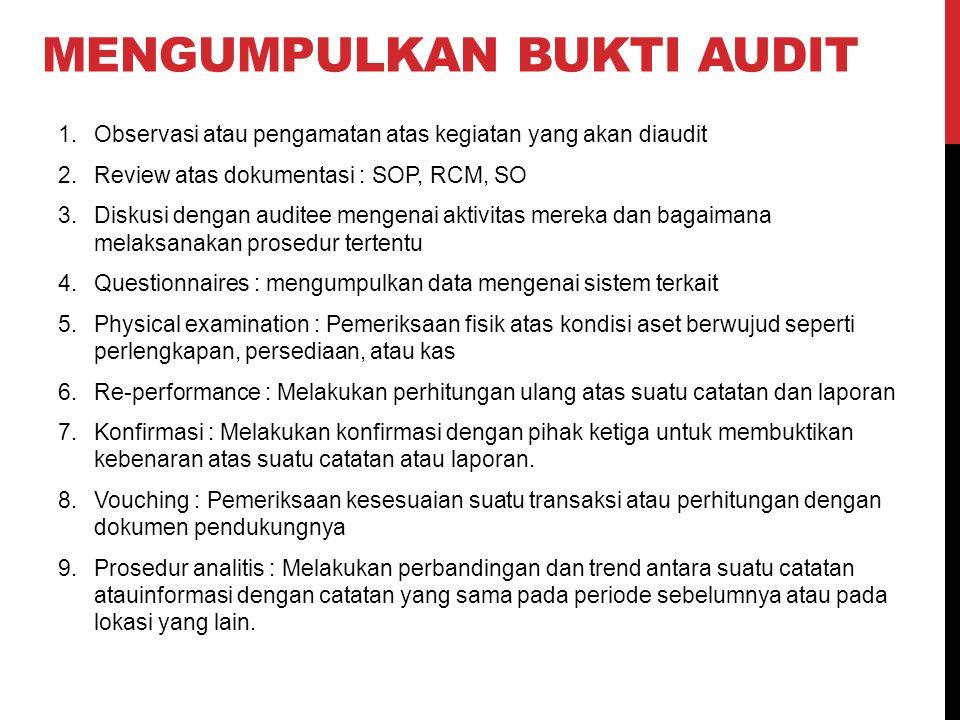 MENGUMPULKAN BUKTI AUDIT 1.Observasi atau pengamatan atas kegiatan yang akan diaudit 2.Review atas dokumentasi : SOP, RCM, SO 3.Diskusi dengan auditee