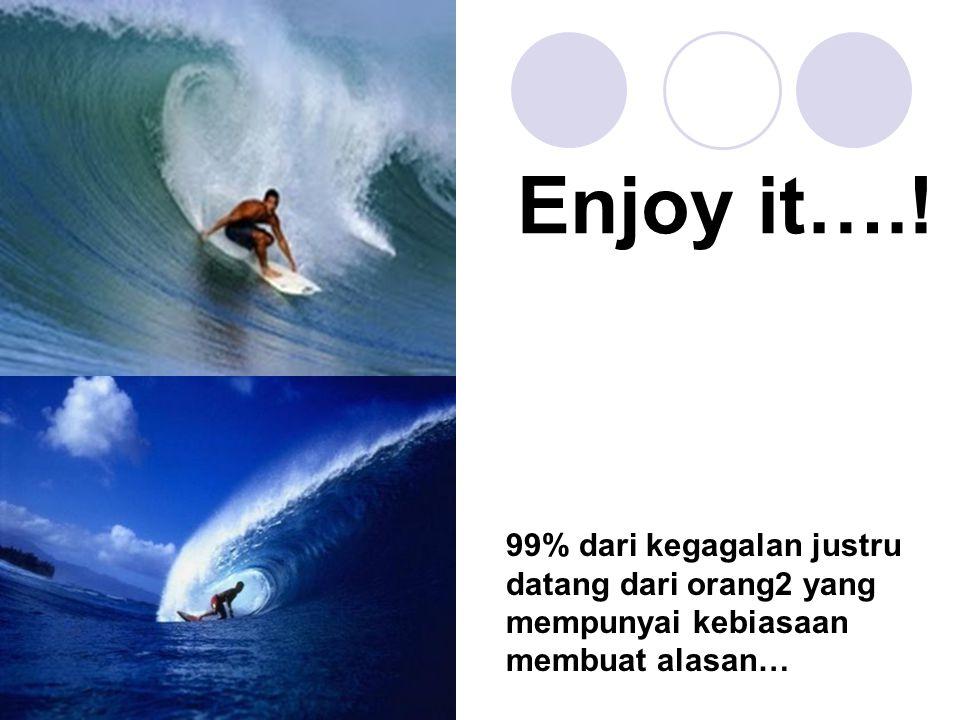 Enjoy it….! 99% dari kegagalan justru datang dari orang2 yang mempunyai kebiasaan membuat alasan…