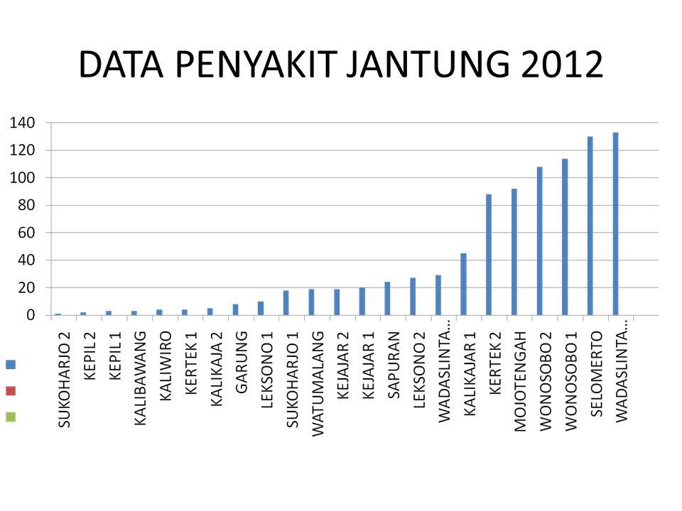 ANGKA KEMATIAN RS TAHUN 2012 Pasien meninggal : 614 orang Meninggal > 48 jam : 256 orang Meninggal < 48 jam : 385 orang GDR : 27,57 NDR : 11,49