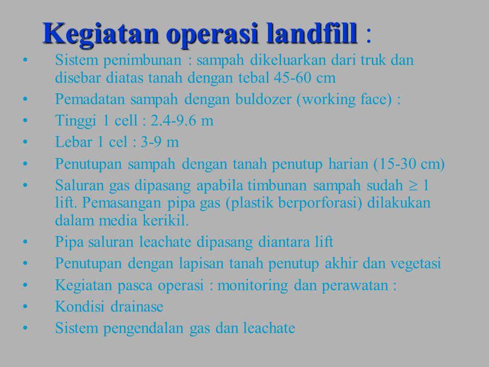 Kegiatan operasi landfill Kegiatan operasi landfill : Sistem penimbunan : sampah dikeluarkan dari truk dan disebar diatas tanah dengan tebal 45-60 cm Pemadatan sampah dengan buldozer (working face) : Tinggi 1 cell : 2.4-9.6 m Lebar 1 cel : 3-9 m Penutupan sampah dengan tanah penutup harian (15-30 cm) Saluran gas dipasang apabila timbunan sampah sudah  1 lift.