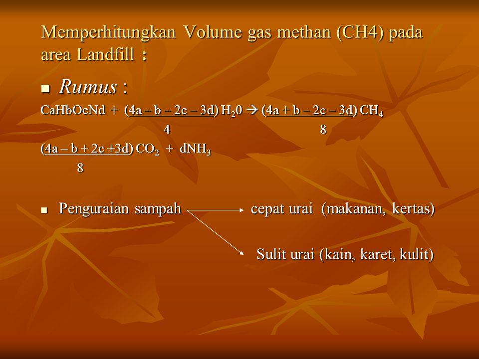 Memperhitungkan Volume gas methan (CH4) pada area Landfill : Rumus : Rumus : CaHbOcNd + (4a – b – 2c – 3d) H 2 0  (4a + b – 2c – 3d) CH 4 4 8 4 8 (4a – b + 2c +3d) CO 2 + dNH 3 8 Penguraian sampah cepat urai (makanan, kertas) Penguraian sampah cepat urai (makanan, kertas) Sulit urai (kain, karet, kulit) Sulit urai (kain, karet, kulit)