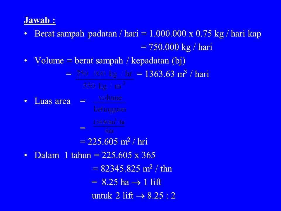 Jawab : Berat sampah padatan / hari = 1.000.000 x 0.75 kg / hari kap = 750.000 kg / hari Volume = berat sampah / kepadatan (bj) = = 1363.63 m 3 / hari Luas area = = = 225.605 m 2 / hri Dalam 1 tahun = 225.605 x 365 = 82345.825 m 2 / thn = 8.25 ha  1 lift untuk 2 lift  8.25 : 2