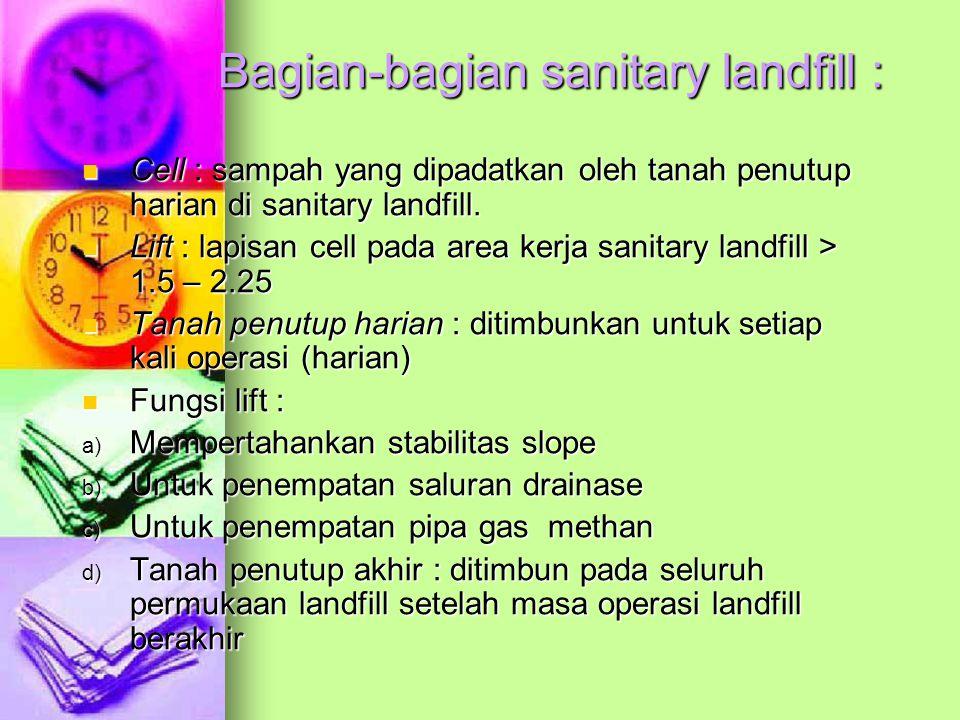 Bagian-bagian sanitary landfill : Cell : sampah yang dipadatkan oleh tanah penutup harian di sanitary landfill.