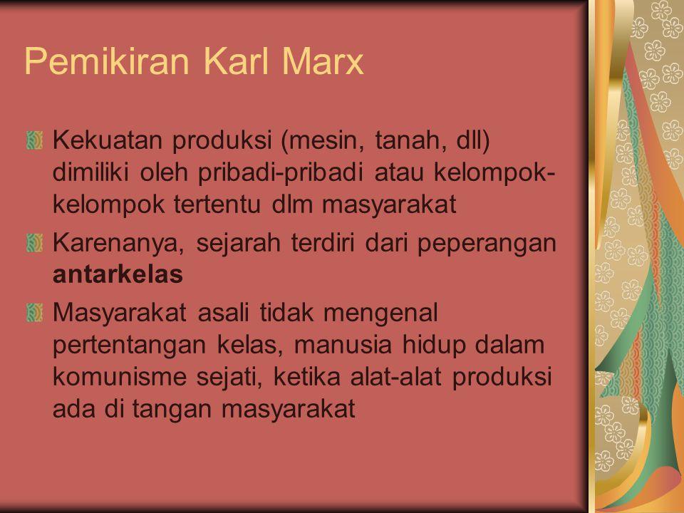 Pemikiran Karl Marx Adanya kelas-kelas dlm masyarakat disebabkan oleh pengkhususan pekerjaan dan timbulnya gagasan ttg kepemilikan pribadi Terbentuknya kelas pemilik (kapitalis) dan kelas tanpa milik (proletar) yang saling bertentangan
