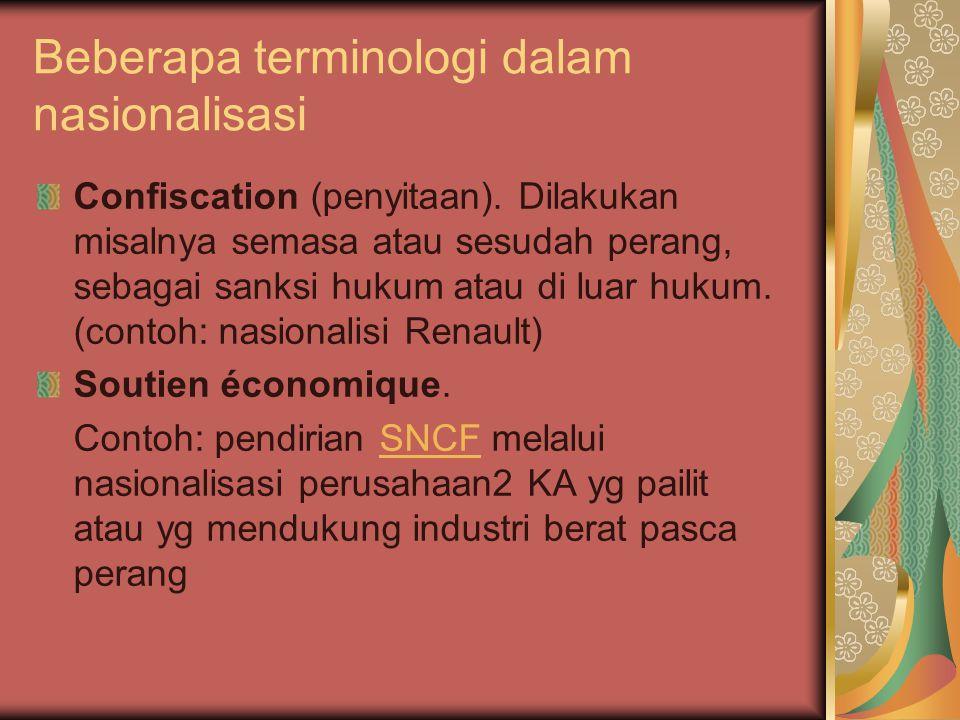 Beberapa terminologi dalam nasionalisasi Confiscation (penyitaan).