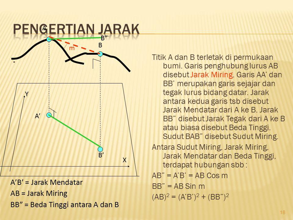 . Titik A dan B terletak di permukaan bumi. Garis penghubung lurus AB disebut Jarak Miring. Garis AA' dan BB' merupakan garis sejajar dan tegak lurus