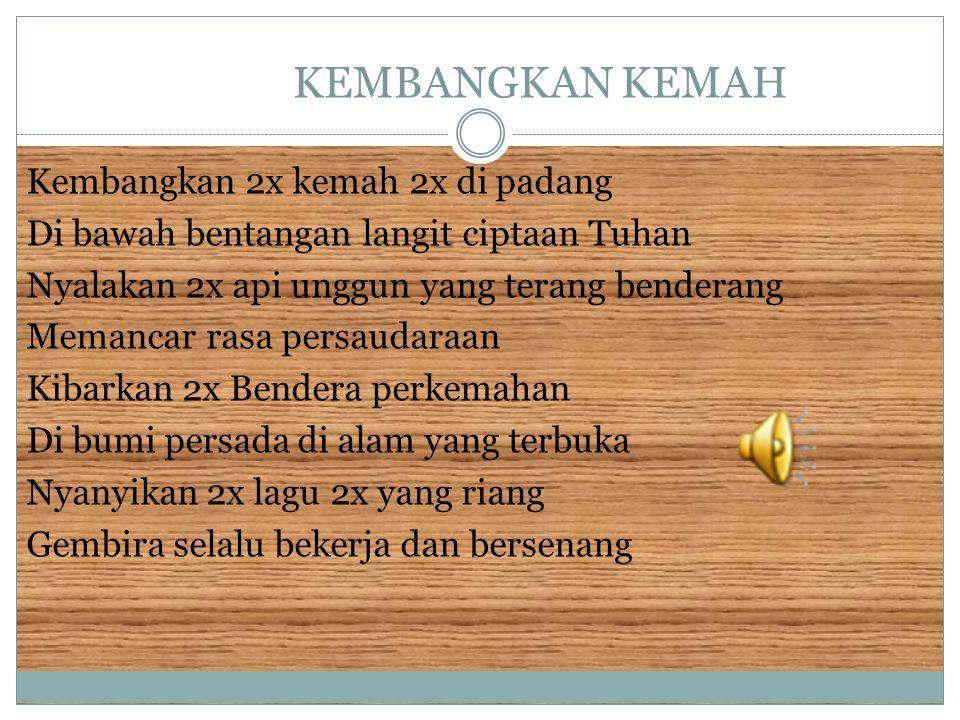 GERAK PRAMUKA Wahai Pramuka gerak ke muka Majulah membina Indonesia Ayolah maju teruslah maju ke Indonesia Raya 2x.
