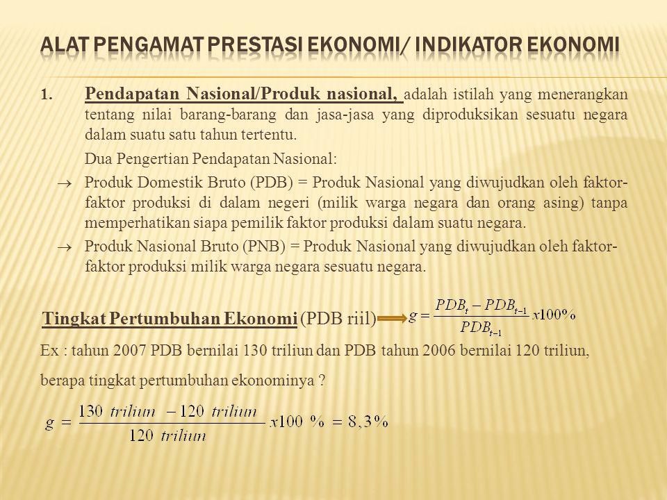 1. Pendapatan Nasional/Produk nasional, adalah istilah yang menerangkan tentang nilai barang-barang dan jasa-jasa yang diproduksikan sesuatu negara da