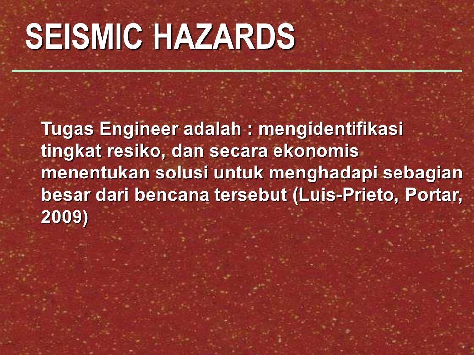 Tugas Engineer adalah : mengidentifikasi tingkat resiko, dan secara ekonomis menentukan solusi untuk menghadapi sebagian besar dari bencana tersebut (Luis-Prieto, Portar, 2009)