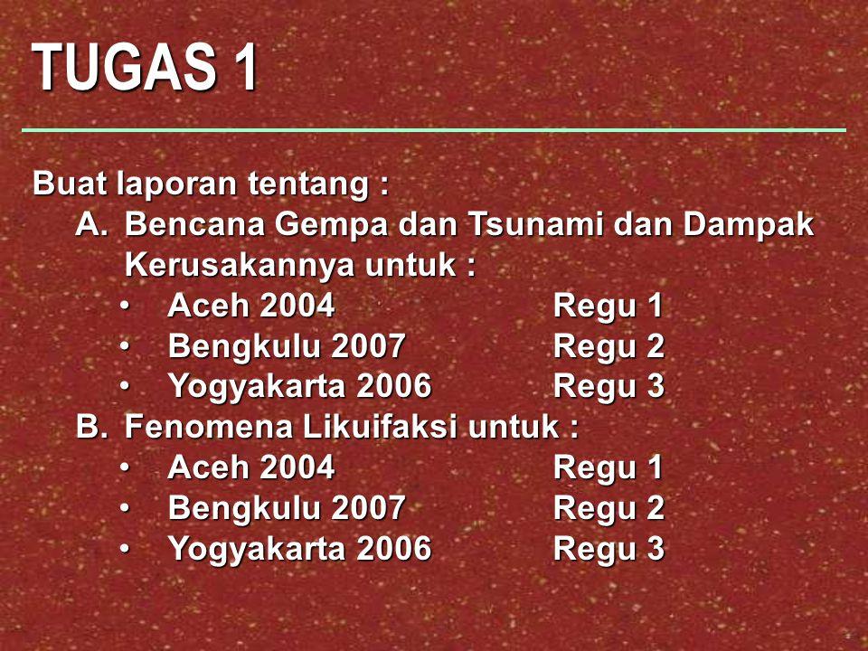 TUGAS 1 Buat laporan tentang : A.Bencana Gempa dan Tsunami dan Dampak Kerusakannya untuk : Aceh 2004 Regu 1Aceh 2004 Regu 1 Bengkulu 2007Regu 2Bengkulu 2007Regu 2 Yogyakarta 2006Regu 3Yogyakarta 2006Regu 3 B.Fenomena Likuifaksi untuk : Aceh 2004 Regu 1Aceh 2004 Regu 1 Bengkulu 2007Regu 2Bengkulu 2007Regu 2 Yogyakarta 2006Regu 3Yogyakarta 2006Regu 3