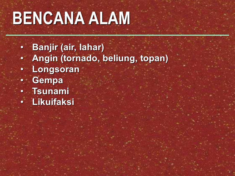 BENCANA ALAM Banjir (air, lahar)Banjir (air, lahar) Angin (tornado, beliung, topan)Angin (tornado, beliung, topan) LongsoranLongsoran GempaGempa TsunamiTsunami LikuifaksiLikuifaksi