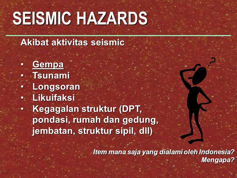 SEISMIC HAZARDS Akibat aktivitas seismic GempaGempa TsunamiTsunami LongsoranLongsoran LikuifaksiLikuifaksi Kegagalan struktur (DPT, pondasi, rumah dan gedung, jembatan, struktur sipil, dll)Kegagalan struktur (DPT, pondasi, rumah dan gedung, jembatan, struktur sipil, dll) Item mana saja yang dialami oleh Indonesia.