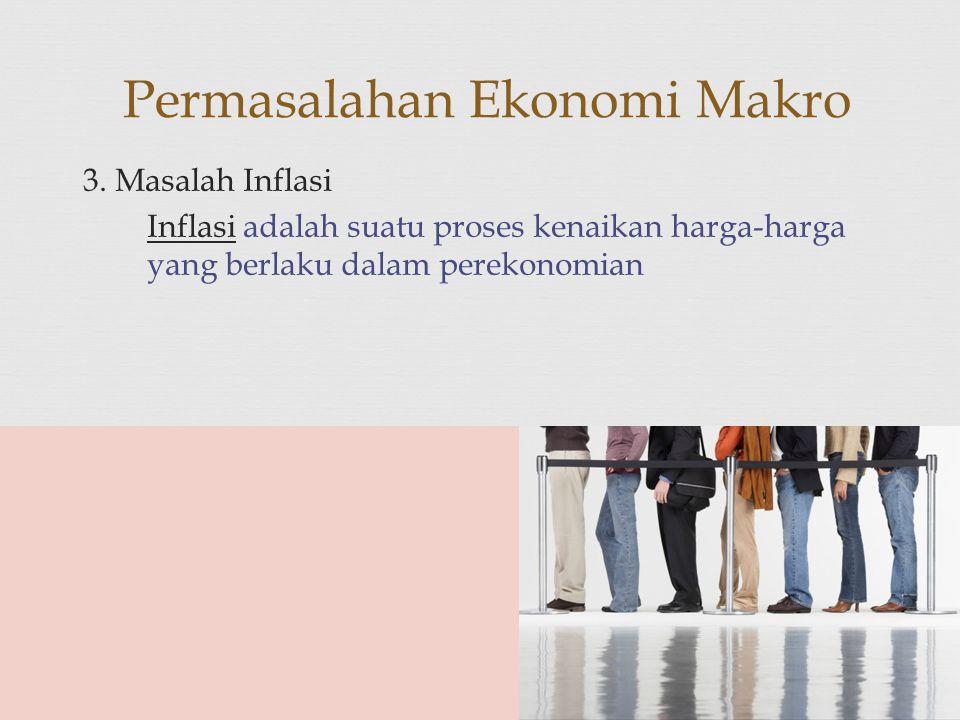 3. Masalah Inflasi Inflasi adalah suatu proses kenaikan harga-harga yang berlaku dalam perekonomian Permasalahan Ekonomi Makro