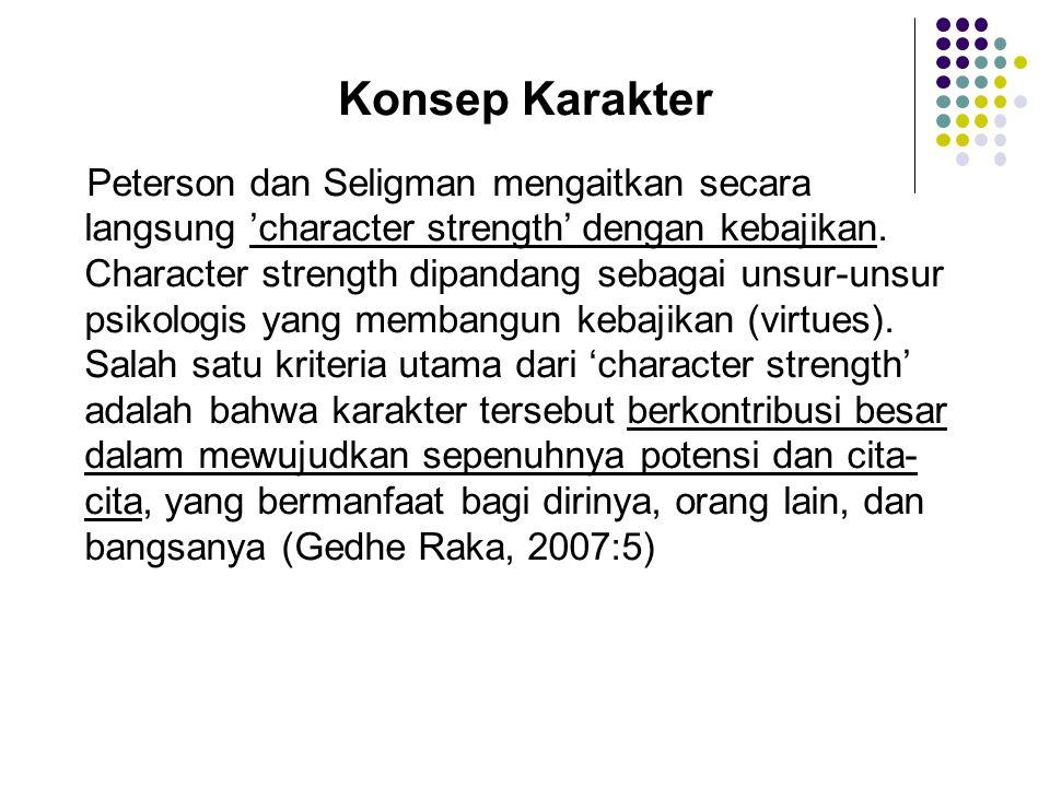 Konsep Karakter Peterson dan Seligman mengaitkan secara langsung 'character strength' dengan kebajikan. Character strength dipandang sebagai unsur-uns