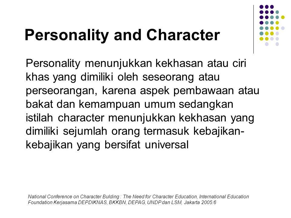 Personality and Character Personality menunjukkan kekhasan atau ciri khas yang dimiliki oleh seseorang atau perseorangan, karena aspek pembawaan atau
