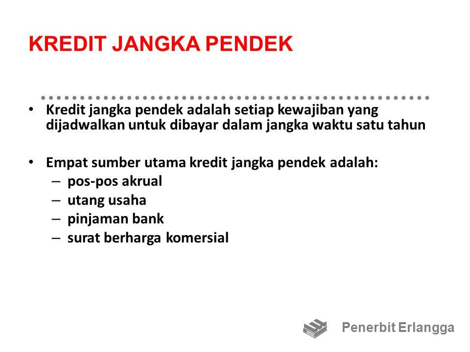 KREDIT JANGKA PENDEK Kredit jangka pendek adalah setiap kewajiban yang dijadwalkan untuk dibayar dalam jangka waktu satu tahun Empat sumber utama kred
