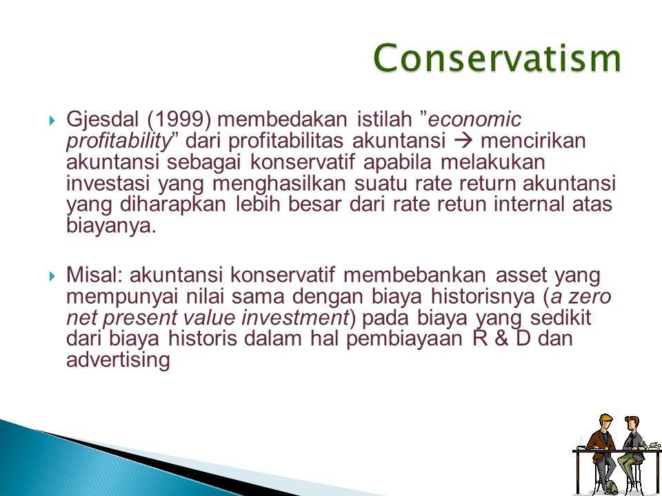 """ Gjesdal (1999) membedakan istilah """"economic profitability"""" dari profitabilitas akuntansi  mencirikan akuntansi sebagai konservatif apabila melakuka"""