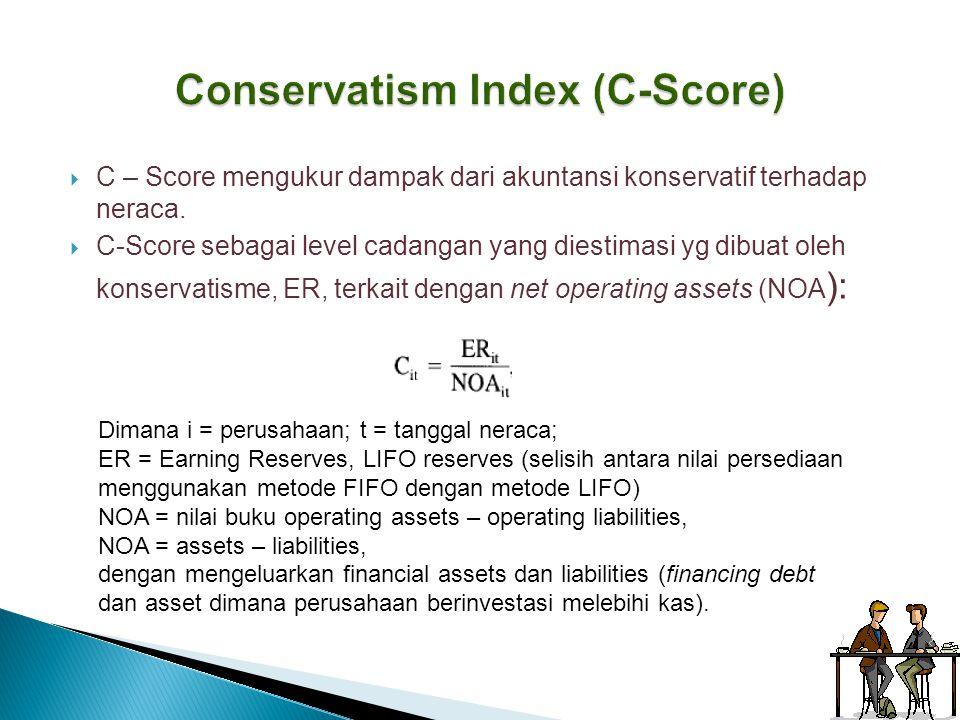  C – Score mengukur dampak dari akuntansi konservatif terhadap neraca.  C-Score sebagai level cadangan yang diestimasi yg dibuat oleh konservatisme,