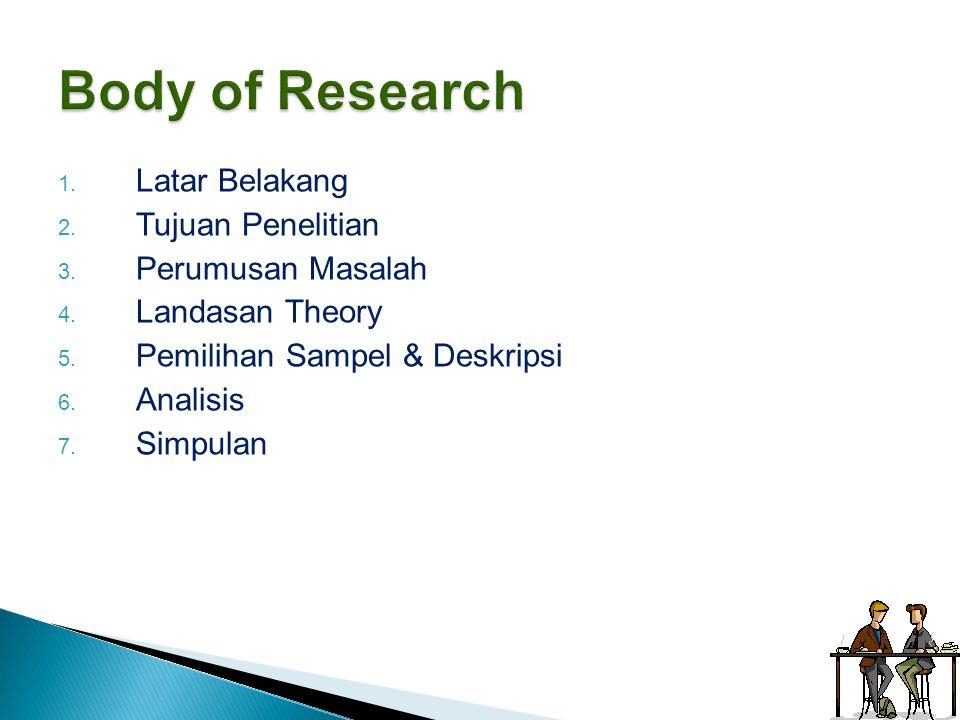 1. Latar Belakang 2. Tujuan Penelitian 3. Perumusan Masalah 4. Landasan Theory 5. Pemilihan Sampel & Deskripsi 6. Analisis 7. Simpulan