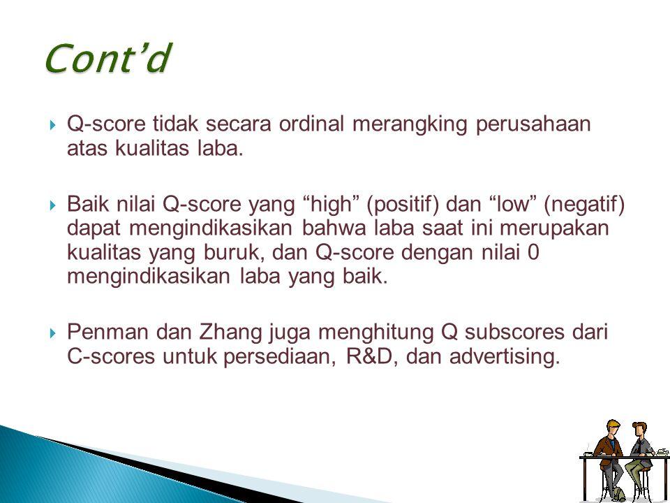 """ Q-score tidak secara ordinal merangking perusahaan atas kualitas laba.  Baik nilai Q-score yang """"high"""" (positif) dan """"low"""" (negatif) dapat mengindi"""