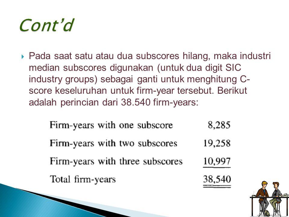  Pada saat satu atau dua subscores hilang, maka industri median subscores digunakan (untuk dua digit SIC industry groups) sebagai ganti untuk menghit