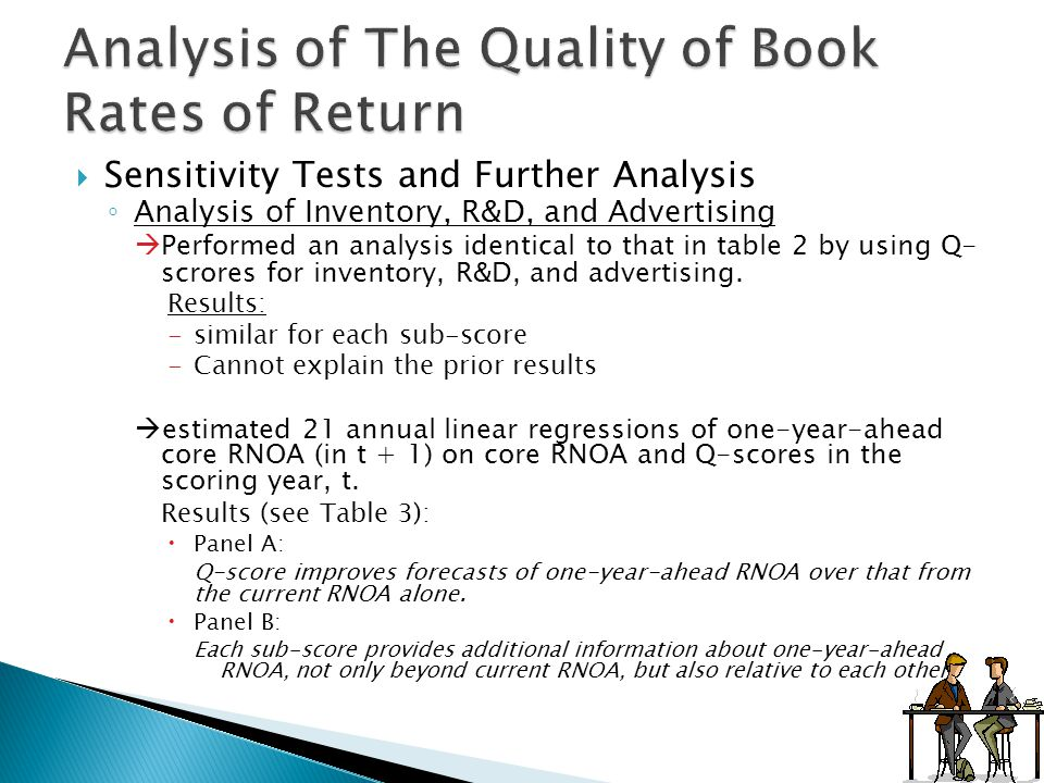  Sensitivity Tests and Further Analysis ◦ Analysis of Inventory, R&D, and Advertising  Performed an analysis identical to that in table 2 by using Q- scrores for inventory, R&D, and advertising.